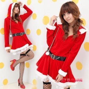 サンタ コスプレ レディース サンタコスチューム 長袖 フード付き サンタクロース 女性 定番 クリスマス衣装 sd001|akaneashop
