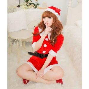 サンタ コスプレ レディース 定番 ワンピース 3点セット サンタクロース衣装 コスチューム sd005|akaneashop