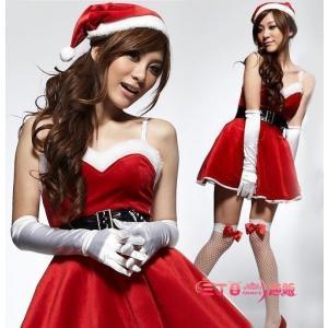 サンタ コスプレ レディース サンタクロース コスチューム セクシー 姫 aライン グローブ付き 4点セット sd007|akaneashop
