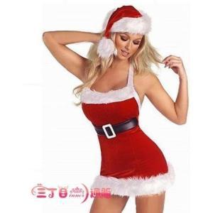 サンタ コスプレ レディース サンタクロース コスチューム セクシー タイトミニワンピース 帽子付き 3点セット sd012|akaneashop