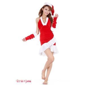 クリスマス♪ドレッシーなサンタさん♪オシャレサンタワンピース 帽子&手袋付サンタコスプレ 3点セット 仮装 パーティー(メール便不可)  sd015|akaneashop