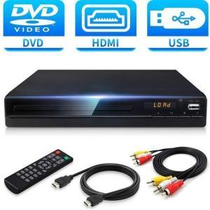 Jinhoo DVDプレーヤー1080Pサポート DVD/CDディスクプレーヤー 音楽再生 ブラック...