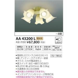 AA43200L インテリアファン灯具  (コイズミSシリーズプロバンスタイプ)※単体使用不可 (〜8畳) LED(電球色) コイズミ照明 (KA) 照明器具 akariyasan