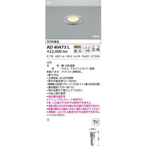 AD40473L 高気密床埋込器具  LED(電球色) コイズミ照明 (KA) 照明器具 akariyasan