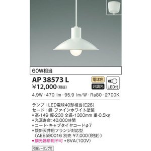 AP38573L ペンダント (直付) LED(電球色) コイズミ(KP) 照明器具|akariyasan
