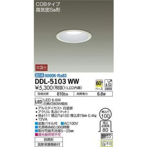 DDL-5103WW ダウンライト(軒下兼用)  LED 6.6W 昼白色  大光電機 【DDS】 照明器具【RCP】|akariyasan