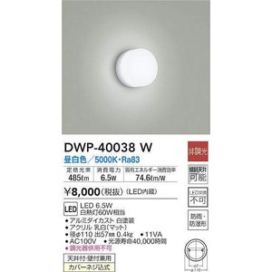 DWP-40038W 浴室灯  LED 6.5W 昼白色  大光電機 【DDS】 照明器具【RCP】 akariyasan