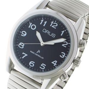 グルス GRUS ボイス電波腕時計 トーキングウォッチ クオーツ メンズ ウォッチ 時計 ブラック/...