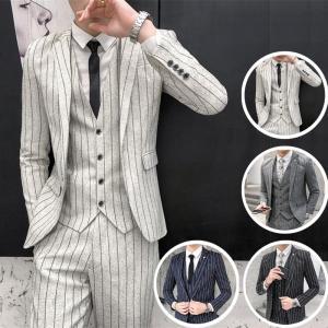 ビジネススーツ メンズ スリーピーススーツ3ピーススーツ 3点スーツセットアップ ストライプ柄 細身...