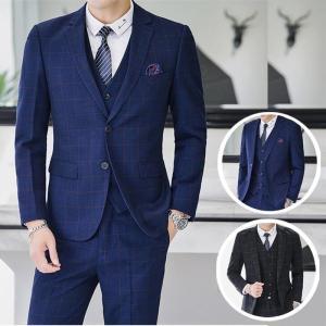 メンズ スーツ セットアップ ドレスコートフォーマル スリム カジュアル チェック柄 紳士3点セット...