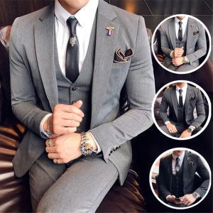 メンズ スーツ セットアップ 紳士 結婚式 3ピース ドレスコートフォーマル スリーピース  ビジネ...