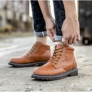 ムートンブーツ メンズ PU革靴 靴 ショートブーススノーブ...