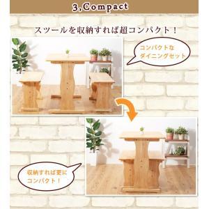 ダイニングテーブルセット 3点セット ダイニングセット 2人 2人用 北欧風  食卓 テーブル ベンチ スツール 木製 幅90cm 安い コンパクト 省スペースカフェ|akaya|08