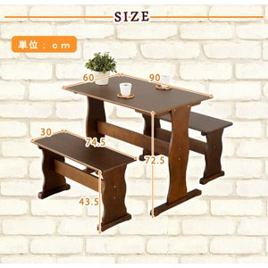 ダイニングテーブルセット 3点セット ダイニングセット 2人 2人用 北欧風  食卓 テーブル ベンチ スツール 木製 幅90cm 安い コンパクト 省スペースカフェ|akaya|10