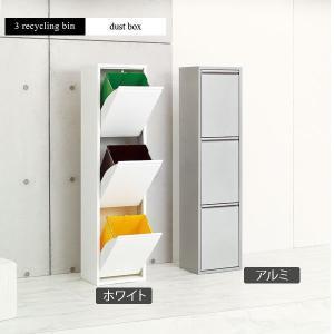 分別ゴミ箱の定番スタイル、イタリア製のリサイクルビン。 ホワイトとアルミから選べるおしゃれなダストボ...