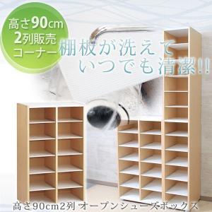下駄箱 シューズボックス 日本製 大容量収納 洗える棚板 90 2列