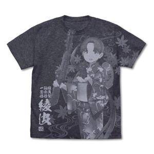 艦これ 綾波 オールプリントTシャツ 夏祭り浴衣mode/DARK HEATHER NAVY−L / 二次元コスパ|akhb