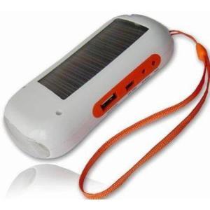 ソーラー&チャージャー式LED型懐中電灯 FMラジオ付 T-001A【0404】|akiba-e-connect