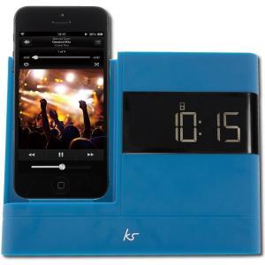 アウトレット プリンストン KitSound Lightningコネクター搭載 アラームクロック スピーカー ブルー FMラジオ機能 AUX搭載 MFi取得済 KSXDOCK2BL|akiba-e-connect