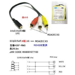 【COMON】 3.5mmステレオ4極(メス) - RCA(オス)x3 変換ケーブル 【435F-RM3】|akibahobby