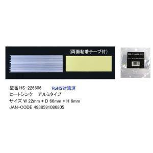 アルミ製ヒートシンク W22mmxD66mmxH6mm 粘着テープ付 COMON HS-226606 akibahobby