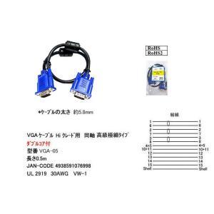 アナログRGBディスプレイケーブル 高級極細タイプ ダブルコア付 0.5m COMON S-VGA05|akibahobby