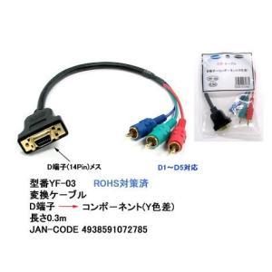 【COMON】 D端子 →コンポーネント(Y色差) 変換ケーブル 長さ30cm 【YF-03】|akibahobby