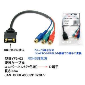 【COMON】コンポーネント(Y色差) → D端子 変換ケーブル 長さ30cm 【YF2-03】|akibahobby