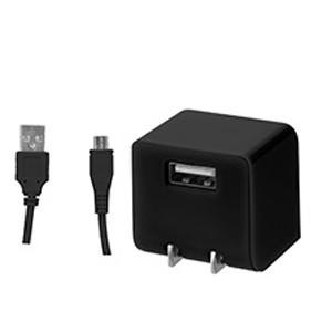 キューブAC-USB1ポート2.1A MicroBケーブル付 ブラック GH-ACMBB-BK|akibaoo