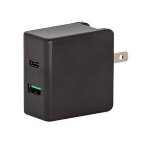 AC-USBアダプタ 2P USBCケーブル 1m PD対応 ブラック GH-ACU2PA-BK|akibaoo