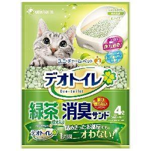 ユニチャーム デオトイレ 飛び散らない緑茶成分入り消臭サンド 4L 猫砂 紙 燃やせる