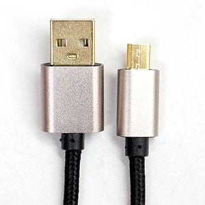 USBケーブル Aオス-microUSBオス メッシュ 1m ブラック akibaoo