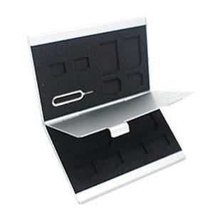 メモリー&SIMカードケース microSDx4 SDx2 microSIMx2 SIMピン SIMアダプターx4 シルバー SDカードケース|akibaoo