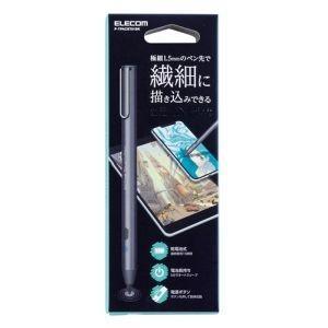 エレコム ELECOM スマートフォン・タブレット用 電池式アクティブタッチペン クリップ付き ブラック P-TPACST01BK|akibaoo