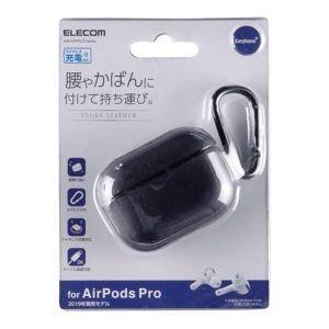 エレコム ELECOM AirPods Pro用 ソフトレザーケース カラビナ付 ブラック AVA-AP2PLC2BK|akibaoo
