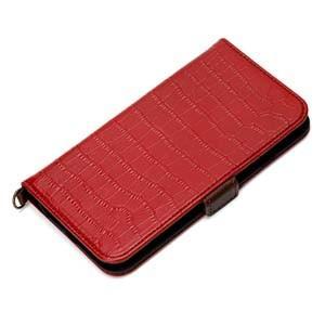 Premium Style iPhone 6s/6対応 フリップカバー クロコダイル調 レッド PG-I6FP24RD|akibaoo
