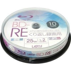 L-BRE10P BD-RE 25GB 10枚 2倍速 ブルーレイディスク lazos akibaoo