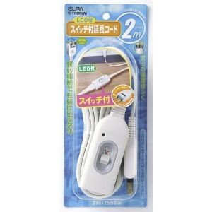 スイッチ付延長コード 2m W-S1020B(W) akibaoo