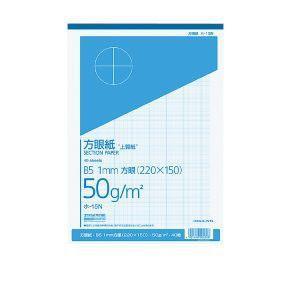 上質方眼紙 B5 1mm目 ブルー刷り 40枚とじ ホ-15N|akibaoo