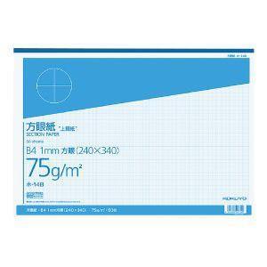 上質方眼紙 B4 1mm目 ブルー刷り 50枚とじ ホ-14B|akibaoo
