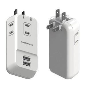 AC充電器 AC3P USB2P 3.4A WH AJ-530|akibaoo