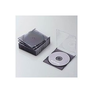 CD/DVDスリムプラケース/1枚収納/10パック/クリアブラック CCD-JSCS10CBK|akibaoo