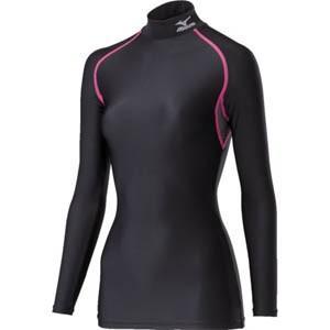 コンプレッションアンダーシャツ ハイネック長袖 レディース XLサイズ ピンク× ブラック H2JTRE0797-XLの商品画像|ナビ