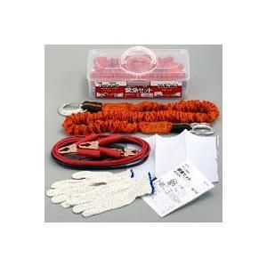 小・中型車用緊急セット 牽引ロープ ブースターケーブル2m 作業用手袋 白旗 フック ベルト 1631|akibaoo