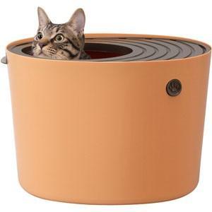 【取寄品 出荷:約3−5日 土日祭日除く】縦型デザインと飛び散り防止凹凸ふたで、猫砂の飛び散りを解決...