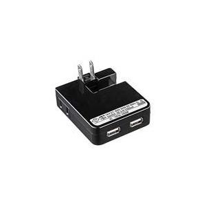 USB充電タップ型ACアダプタ(出力2.1A×2ポート)ブラック ACA-IP25BK akibaoo