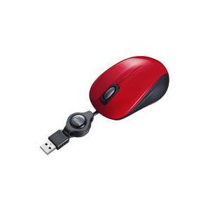 静音ケーブル巻取りブルーLEDマウス(レッド) MA-BLMA8R|akibaoo