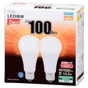 LED電球 A型 E26 13W 電球色 2P LDA13L-G AG5 2P 06-1747 100形相当 一般電球形|akibaoo