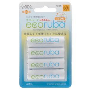 【メール便選択可】オーム電機 BT-JUTG31 4P 充電式電池 エコルーバ 単3×4本入 07-6310|akibaoo