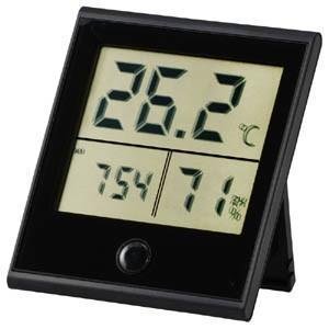 時計付き デジタル温湿度計 黒 TEM-210-K|akibaoo